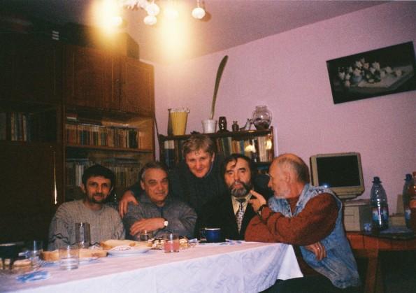 Scriitori la Haţeg: Ioan Barb, Dumitru Hurubă, Romulus Constantinescu, Eugen Evu, august 2009