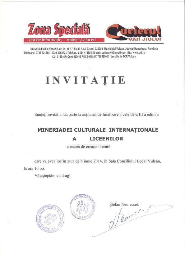 Invitatie MINERIADA