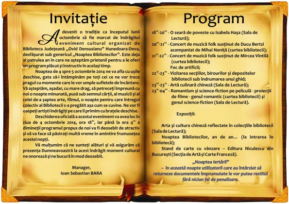 PLIANT VERSO NOAPTEA BIBLIOTECILOR 2014