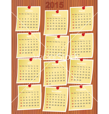calendar 2015 on notes pinned to wooden board